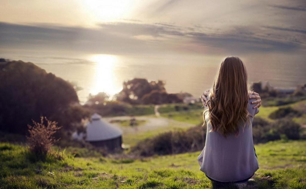 Girl-Watching-Nature-Sunset-Wallpaper